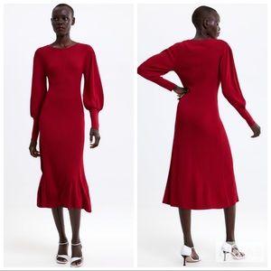 NWT • Zara • Puffy Sleeved Dress